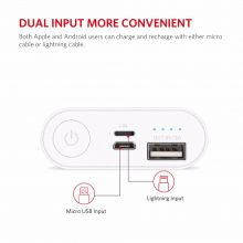 Pocket Power Bank With Dual Input 6000